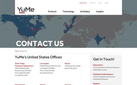 Screenshot of Contact Page yume.com - Contact Us - captured Nov. 26, 2015