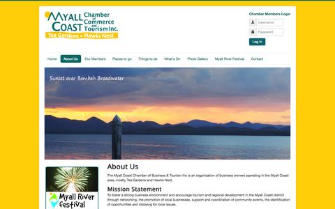 Screenshot of About Page myallcoast.org.au - About Us - Myall Coast Chamber of Commerce and Tourism Inc - captured Oct. 7, 2014