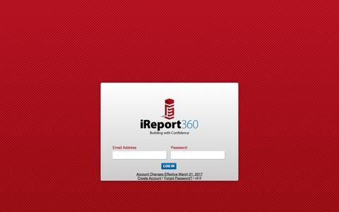 Screenshot of Login Page ireport360.com - iReport 360: Building With Confidence - captured Oct. 26, 2017