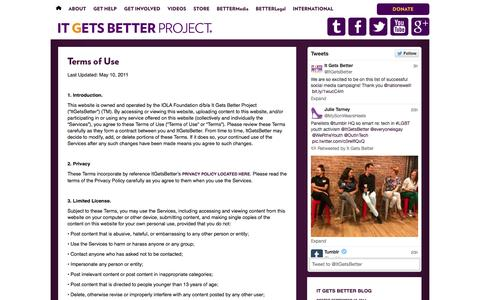 Screenshot of Terms Page itgetsbetter.org - Terms of Use | It Gets Better Project | Give hope to LGBT youth - captured Sept. 19, 2014
