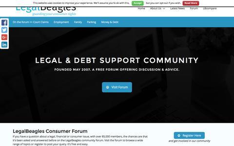 Screenshot of Home Page legalbeagles.info - LegalBEAGLES Debt & Legal Forum - captured July 13, 2016