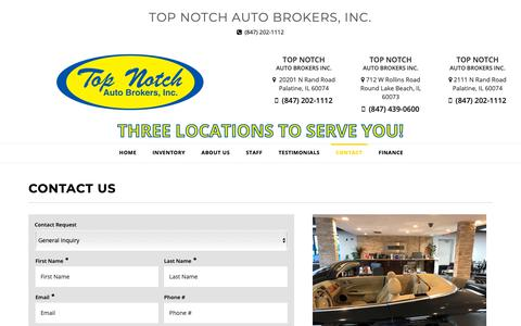 Screenshot of Contact Page topnotchcars.com - Contact Top Notch Auto Brokers, Inc. Dealership Palatine, IL 60074 - captured Oct. 19, 2018