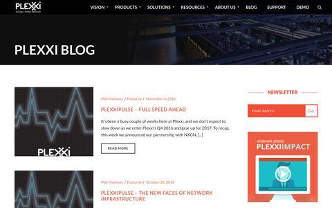 Screenshot of Blog plexxi.com - Blog - Plexxi - captured Nov. 7, 2016