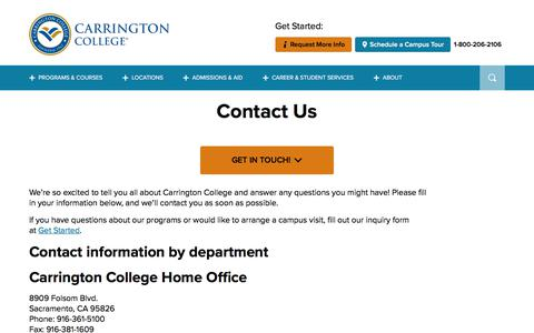 Screenshot of Contact Page carrington.edu - Contact Carrington College - captured Feb. 25, 2020
