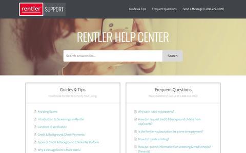 Screenshot of Support Page rentler.com - Rentler Support - captured Feb. 21, 2016