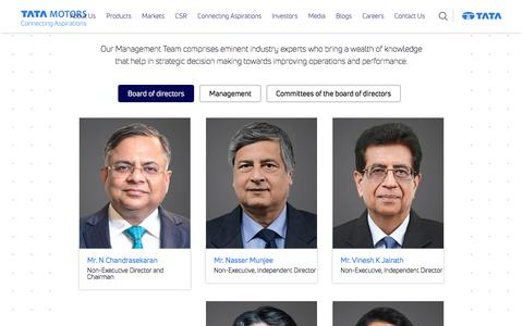 Screenshot of Team Page tatamotors.com - Tata Motors Board of Directors   Tata Motors Management   Tata Motors Corporate Strategy - captured Sept. 13, 2018