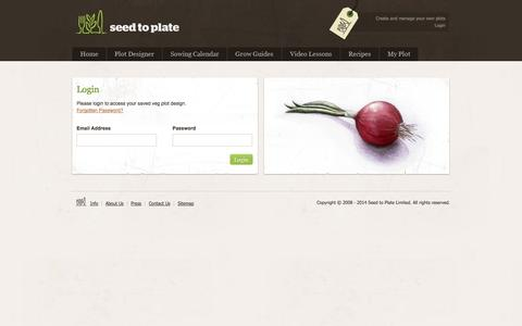 Screenshot of Login Page seedtoplate.co.uk - Organic Vegetable Seeds || Seed to Plate - Grow your own vegetables from seed - captured Oct. 3, 2014