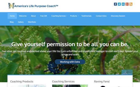 Screenshot of Home Page americaslifepurposecoach.com - America's Life Purpose Coach - captured July 25, 2016