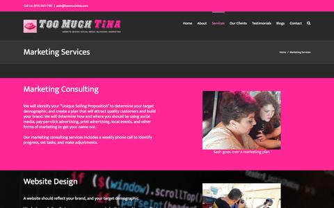 Screenshot of Services Page toomuchtina.com - Marketing Services - Too Much Tina - captured Jan. 27, 2017