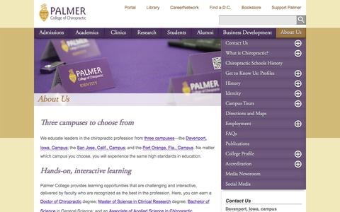 Screenshot of About Page palmer.edu - Information About Chiropractic School - Palmer College of Chiropractic - captured Jan. 20, 2016