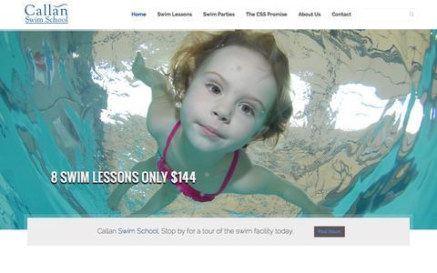 Screenshot of Home Page callanswimschool.com - Callan Swim School   North County Premiere Swim Lessons - captured Sept. 27, 2014
