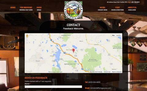 Screenshot of Contact Page flyinggoose.com - Contact | Flying Goose Brew Pub & Grille, New London, NH - captured Oct. 6, 2014