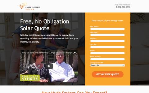 Screenshot of Landing Page bakerelectricsolar.com - Free, No-Obligation Home Solar Quote - captured Oct. 29, 2016