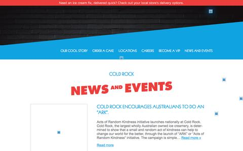 Screenshot of Press Page coldrock.com.au - Cold Rock News and Events | Cold Rock - captured July 20, 2018