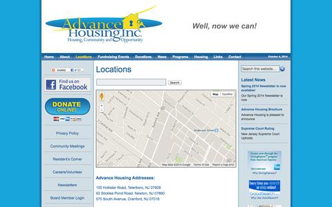Screenshot of Locations Page advancehousing.org - Locations - captured Oct. 4, 2014