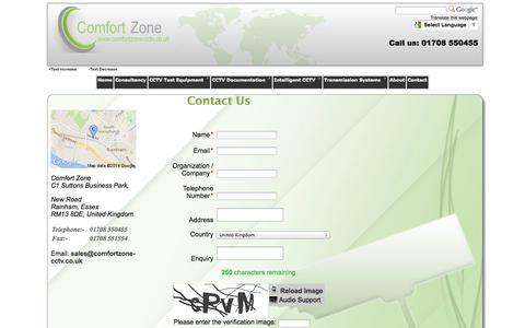 Screenshot of Contact Page comfortzone-cctv.co.uk - Comfort Zone > Contact us - captured Oct. 2, 2014