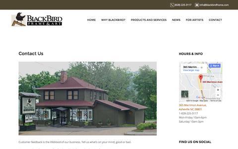 Screenshot of Contact Page blackbirdframe.com - Contact Us – BlackBird Frame and Art - captured Nov. 22, 2016