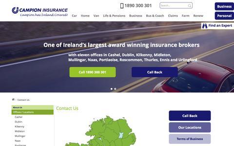 Screenshot of Contact Page campionins.com - Contact Us   Insurance Brokers   Campion Insurance Ireland - captured Oct. 18, 2016