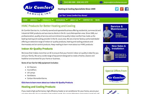 Screenshot of Products Page aircomfortservice.com - HVAC Products | Heating and Cooling Products - captured Sept. 22, 2014