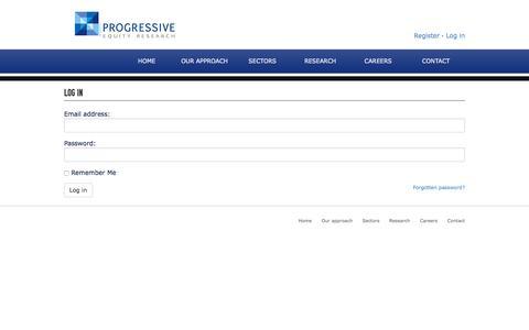 Screenshot of Login Page progressive-research.com - Login | Progressive Research - captured Feb. 1, 2016