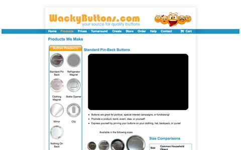 Screenshot of Products Page wackybuttons.com - Products - Campaign Buttons | Promotional Buttons | Metal Buttons - Our Products - captured Oct. 30, 2014