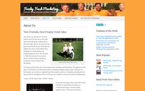 Screenshot of About Page freakyfreshmarketing.com - About Us | Freaky Fresh Marketing - captured Sept. 30, 2014