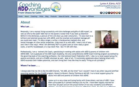 Screenshot of About Page coachingaddvantages.com captured Dec. 9, 2015