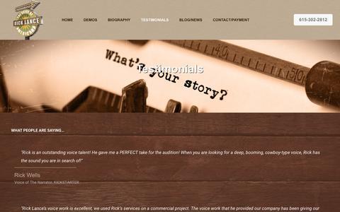 Screenshot of Testimonials Page ricklancestudio.com - Testimonials - Rick Lance Studio - captured Nov. 7, 2018