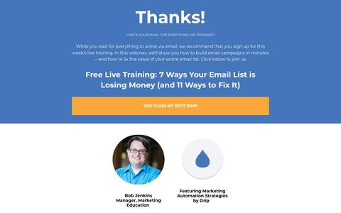 Screenshot of Landing Page drip.com - How to 5x the Value of Your Leads - captured March 5, 2018
