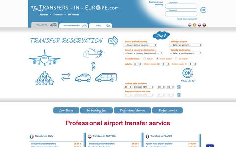 Screenshot of Home Page transfers-in-europe.com - Transfers in Europe - Airport Transfer, Shuttle, Bus and Taxi Service - captured Oct. 20, 2018