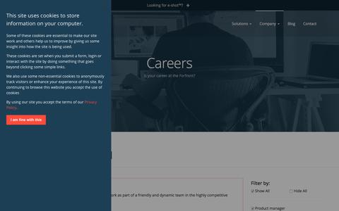Screenshot of Jobs Page forfront.com - Forfront Careers - captured Sept. 22, 2018