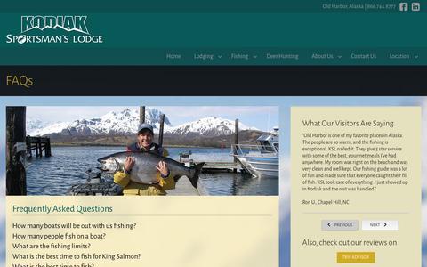 Screenshot of FAQ Page kodiaksportsmanslodge.com - Kodiak Sportsman's Lodge - FAQs - captured Jan. 9, 2016