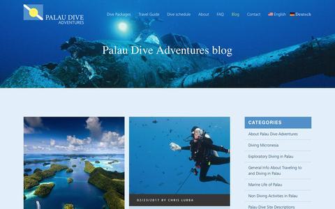 Screenshot of Blog palaudiveadventures.com - Palau Dive Adventures blog   Read all about scuba diving Palau - captured May 14, 2017