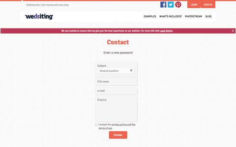 Screenshot of Contact Page wedsiting.com - Contact - Wedsiting: Your free wedding site - captured Oct. 26, 2014