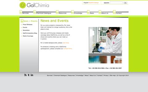 Screenshot of Press Page galchimia.com - News + Events | Galchimia - captured Oct. 1, 2014