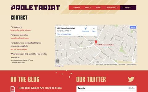 Screenshot of Contact Page proletariat.com - Contact - Proletariat, Inc. - Games for the people. - captured Oct. 3, 2014