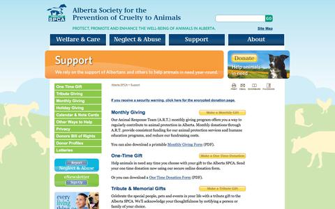 Screenshot of Support Page albertaspca.org - Support .:. Alberta SPCA - captured June 29, 2018