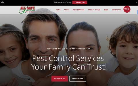 Screenshot of Home Page allsafepestprevention.com - All Safe Pest Control - 1.877.541.8719 - captured Feb. 5, 2016