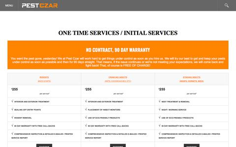 Screenshot of Pricing Page pestczar.com - One - Time Pest Services in Maryland - captured July 17, 2018