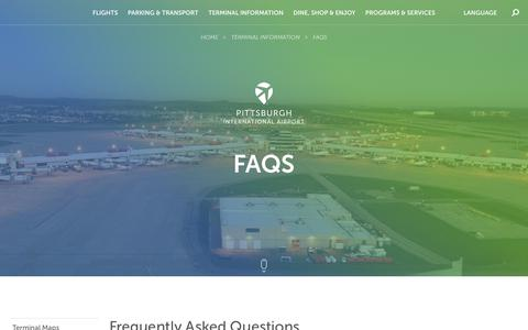 Screenshot of FAQ Page flypittsburgh.com - Pittsburgh Airport @ Pittsburgh Airport - captured Oct. 8, 2017