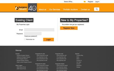 Screenshot of Login Page burgessrawson.com.au - Burgess Rawson specialises in real estate in Western Australia (WA), New South Wales (NSW), Queensland (QLD), Australian Capital Territory (ACT), Victoria (VIC), Tasmania (TAS), South Australia (SA), Northern Territory (NT), Blue Mountains & Surround - captured Jan. 7, 2016