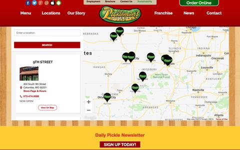 Screenshot of Locations Page picklemans.com - Sandwich Delivery | Picklemans Locations | Order Salads Online - captured Dec. 14, 2018