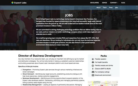 Screenshot of Jobs Page expectlabs.com - Job Opportunities and Expect Labs - captured Sept. 16, 2014