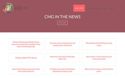 Screenshot of Press Page colormarketing.org - News - Color Marketing Group® - captured Sept. 28, 2018