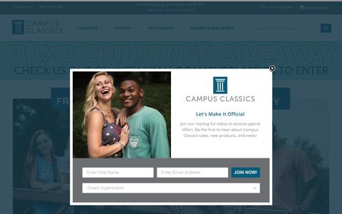 Screenshot of Home Page campus-classics.com - Campus Classics - Licensed Fraternity and Sorority Apparel - captured Nov. 4, 2018