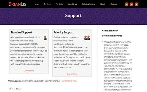 Screenshot of Support Page brianlis.com - Support - WordPress Consultant - captured Oct. 20, 2016