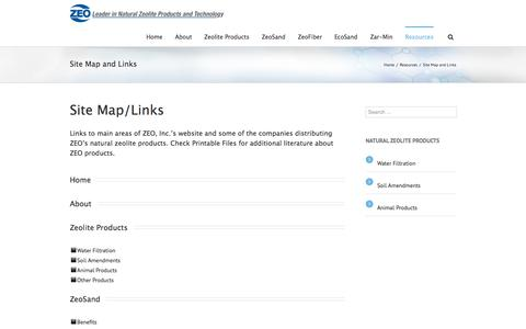 Screenshot of Site Map Page zeoinc.com - ZEO Inc.   –  Site Map and Links - captured Oct. 27, 2014