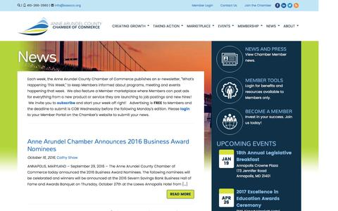 Screenshot of Press Page annearundelchamber.org - Anne Arundel Chamber of Commerce - captured Jan. 4, 2017