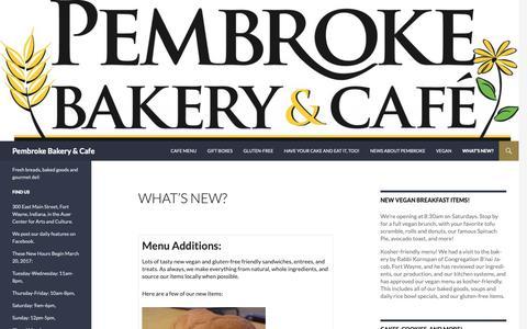 Screenshot of Menu Page pembrokebakeryandcafe.com - What's New? | Pembroke Bakery & Cafe - captured Oct. 23, 2018