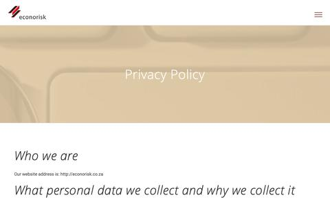 Screenshot of Privacy Page econorisk.co.za - Privacy Policy | Econorisk - captured Sept. 27, 2018